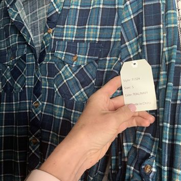 Penny Plaid Flannel Top - Teal/Navy
