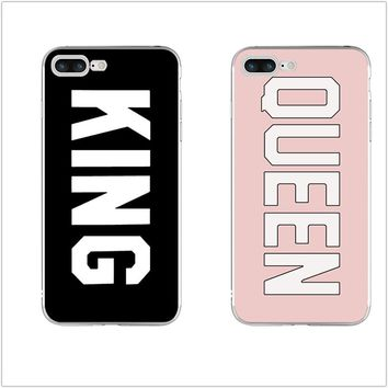Case King Queen Durable Ultra Thin Transparent Originality Clear Back for iPhone 4 4S 5 5S 5C SE 6 6S 7 8 Plus X Soft TPU Cover