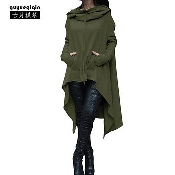 2017 fashion hoodies poncho for women solid color draw cord coat long sleeve poncho femme loose casual Poncho hoodies plus XXXXL