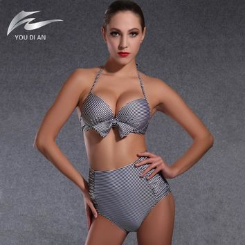 2016 New high waist bikini underwire push up bikini bandage high waist swimsuit cut out swimwear halter striped bathing suits