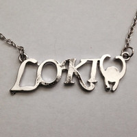 Loki inspired silver horned charm necklace