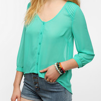 Pins And Needles Pintuck Shoulder Blouse