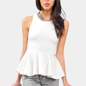 Gold Button Peplum Top - Ivory