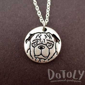 Round Engraved Pug Dog Portrait Pendant Necklace in Silver | Animal Jewelry