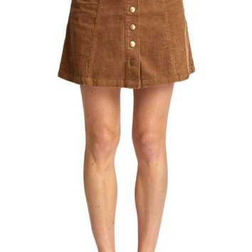 Wishlist Snap Front Corduroy Skirt