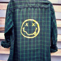Vintage Upcycled Painted Plaid Flannel Boyfriend Shirt 90s Grunge flannel Nirvana Smiley Face Oversized Slouchy Mens Womans OOAK S M L XL