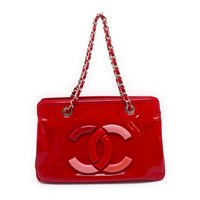 Chanel Patent Leather Chain Shoulder Bag Red 5217