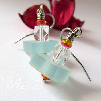 Aqua Resin Earrings and Czech glass by SandstarJewelry on Etsy