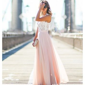 Pink V-Neck Half Sleeve Maxi Dress
