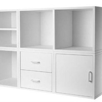 Modular Closet Organizer Storage Cube Shelving Unit in White