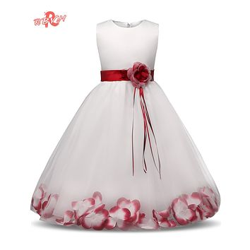 Fancy Flower Children Princess Dresses Girl Kid Ceremony Party Clothes Junior Child Wedding Dress For Teen Girl Prom Ball Gown