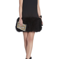 BCBG Jamysen V-Neck Feather-Hem Dress
