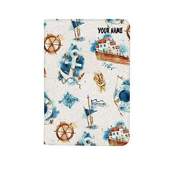 Travel Ship Anchor Leather Business ID Passport Holder Protector Cover_SUPERTRAMPshop