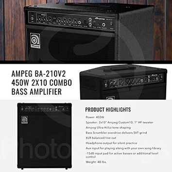 Ampeg BA-210V2 450W 2x10 Combo Bass Amplifier and Bundle TC Electronic MojoMojo Overdrive Tube Amp Overdrive Effect Pedal + Studio Hphones + More