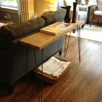 Console Table,  Reclaimed Urban Wood Console Table Hairpin Legs, Barn Wood Planks