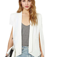 'The Star' White Long Sleeve  Cape Blazer