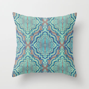 Marker Moroccan in Aqua, Cobalt Blue, Taupe & Teal Throw Pillow by micklyn | Society6
