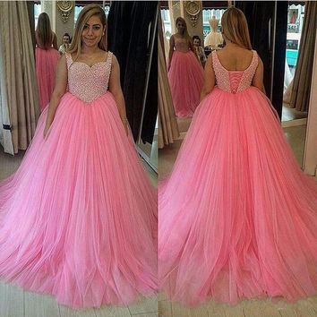 vestidos de gala Pink Tulle 2016 Long Ball Gown Plus Size Prom Dress Party Gown With Beads long graduation dresses vestido longo