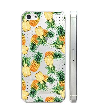 Floral Pineapples Pattern Slim Iphone 5 5S Case, Clear Transparent Iphone 5 5S Hard Cover Case For Apple Iphone 5/5S -Emerishop
