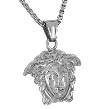 Medusa Face Pendant Charm Free Necklace Chain 24 Inch Designer Mens Womens 1.4""