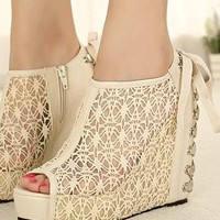 Lace Arma Wedge Shoes from sniksa
