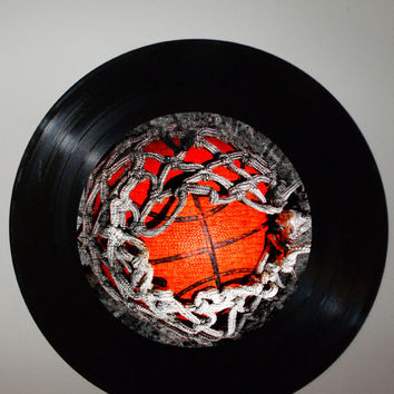 Upcycled Basketball Record Artwork, Recycled Sports Room Decor, Modern Art, Mancave Art, Gift Idea, Urban Art, Basketball Art, Sports Art