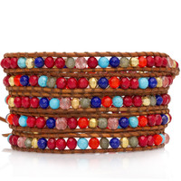 Coral Mix Wrap Bracelet on Natural Brown Leather