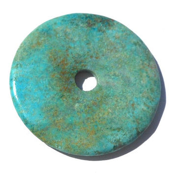 Clearance 40mm Turquoise Stone, Large Donut, Stone Pendant, Turquoise Blue, DIY Supply, Jewelry Making