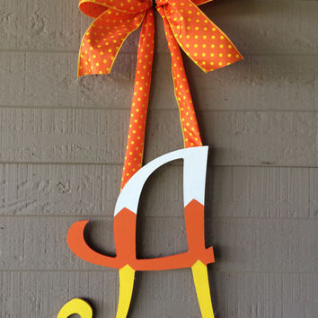 Candy Corn Initial Monogram Door Hanger Wreath Custom Personalized Fall Decor