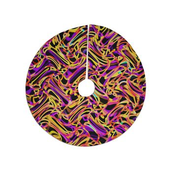 "Dawid Roc ""Camouflage FreeForm Movement 2"" Orange Digital Tree Skirt"