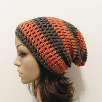 LazyDay Slouch Beanie  Terracotta Gray Stripes