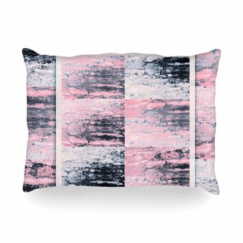 "Nina May ""Tavertina Pink"" Gray Pink Mixed Media Oblong Pillow"
