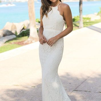 Beige Lace Maxi Dress