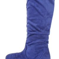 Royal Blue Slouchy Mid Calf Casual Boots Faux Suede