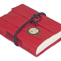 Red Leather Journal with Paris Cameo Bookmark - Ready to Ship