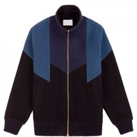 Nubby Wool Panel Track jacket