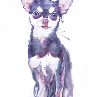 Chihuahua art print, painting watercolor, dog art, dog wall decor,  chihuahua puppy, dog portrait, animal  art print, Art Illustration