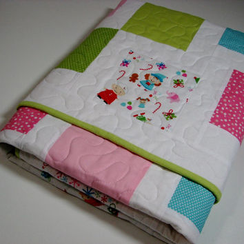 Baby Quilt , Baby's First Christmas , Pastels