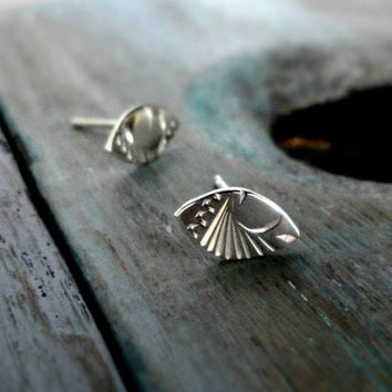 Sterling Silver Marquise Shaped Engraved Stud Earrings.