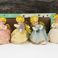 Shiny Brite Pastel Angels Christmas Ornaments 1950s, Musical instruments,  Yellow Chenille hair, Pastel net dresses with gold glitter