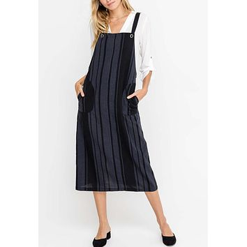 Lush - Black Stripe Overall Midi Dress