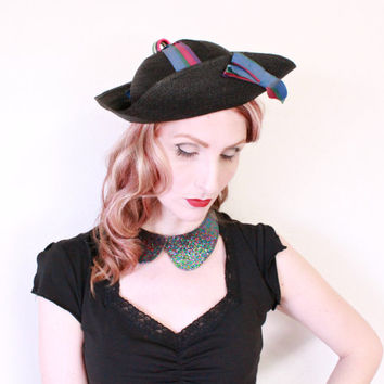 1940s Hat / VINTAGE / Breton / 40s Hat / Tricolor Ribbons / Lucite / Unique