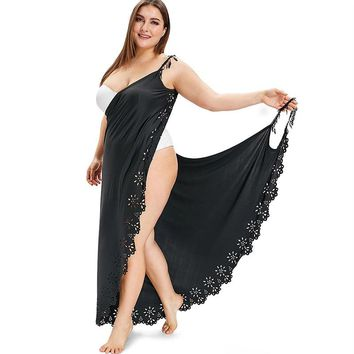 Plus Size Spaghetti Strap Lace Cover Up