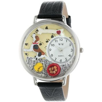 SheilaShrubs.com: Unisex Beagle Black Skin Leather Watch U-0130007 by Whimsical Watches: Watches