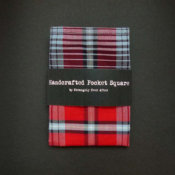 Red black white plaid pocket square – lightweight cotton mens tartan handkerchief – mans rustic hankie – second anniversary gift