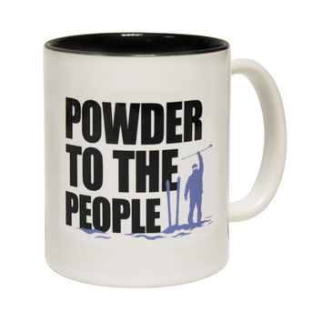 Powder Monkeez Powder To The People Ski Funny Skiing Snowboarding Mug
