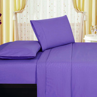 1800 Series Embossed Egyptian Vine Design 4-Piece Sheet Set Full - Purple