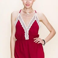 Crochet Trim Open Back Romper