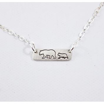 Mama Bear and 1 Cub Necklace - Sterling Silver - Discounted and Ready to ship
