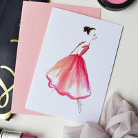 Fashion Card, Fashion Illustration, Fashion Print ,of original ,Ballerina illustration, Watercolor Illustration
